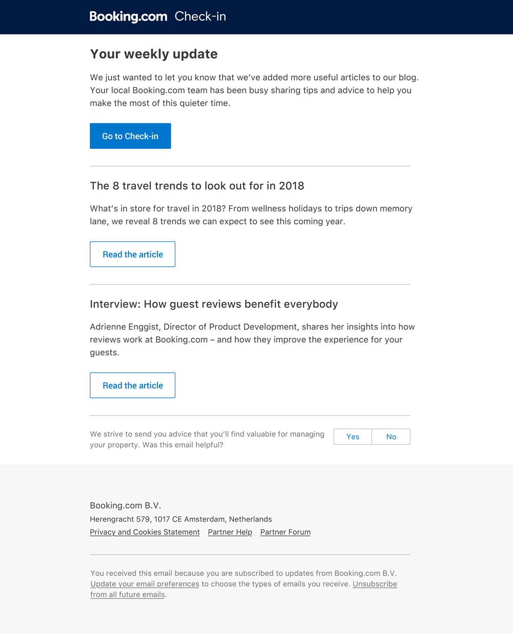 Booking.com partner email design template