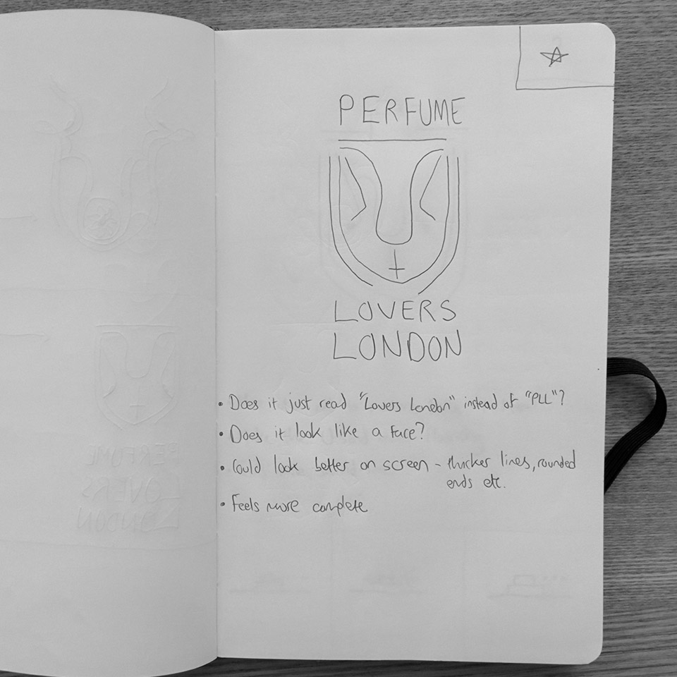 Perfume Lovers London logo sketches